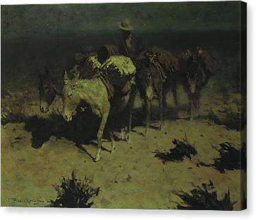 A Pack Train Canvas Print by Frederic Remington