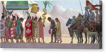 A Painting Of Aztec Ruler Moctezuma II Canvas Print by Ned M. Seidler