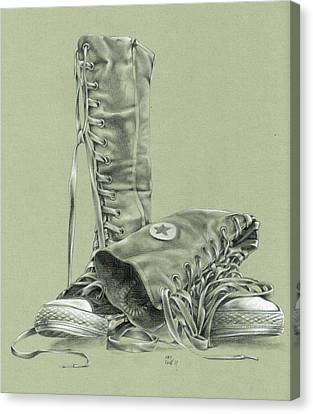 A Pair Of Fake Converse Boots Canvas Print by Richard Mountford