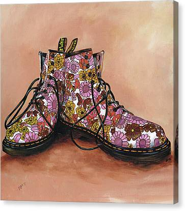 A Pair Of Floral Dr Martens Canvas Print by Richard Mountford