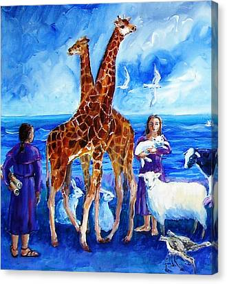 A Pair Of Giraffes Canvas Print by Trudi Doyle