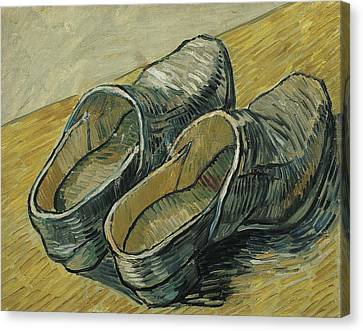 A Pair Of Leather Clogs Canvas Print by Vincent van Gogh