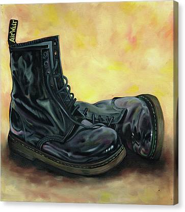 A Pair Of Patent Dr Martens 2 Canvas Print by Richard Mountford
