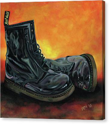 A Pair Of Patent Dr Martens Canvas Print by Richard Mountford