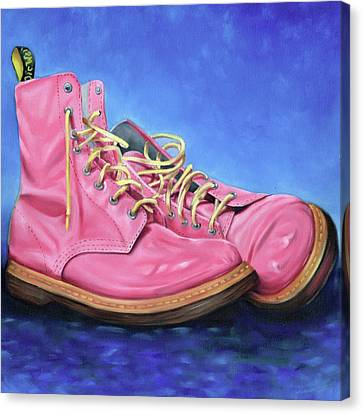 A Pair Of Pink Dr Martens Canvas Print by Richard Mountford