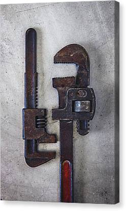 Industrial Background Canvas Print - A Pair Of Rusty Wrenches by Carlos Caetano