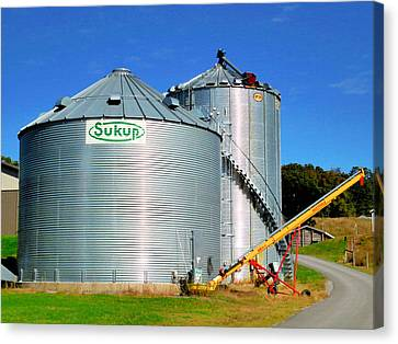 Feed Mill Canvas Print - A Pair Of Steel Grain Bins  1 by Lanjee Chee
