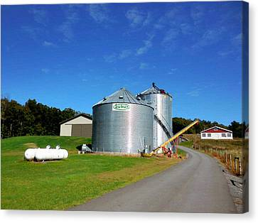 Feed Mill Canvas Print - A Pair Of Steel Grain Bins 3 by Lanjee Chee