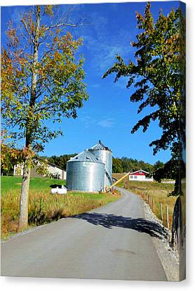 Feed Mill Canvas Print - A Pair Of Steel Grain Bins 4 by Lanjee Chee