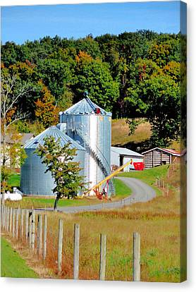 Feed Mill Canvas Print - A Pair Of Steel Grain Bins 5 by Lanjee Chee