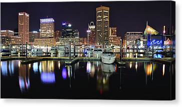 A Panoramic Baltimore Night Canvas Print