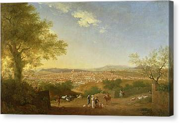 A Panoramic View Of Florence From Bellosguardo Canvas Print by Thomas Patch
