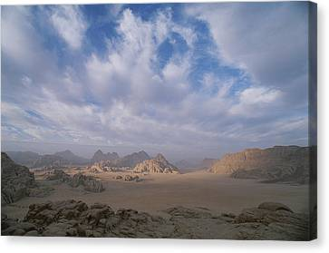 A Panoramic View Of The Wadi Rum Region Canvas Print by Gordon Wiltsie