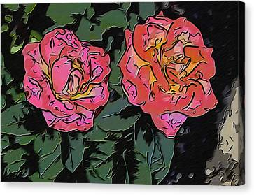 A Parrot And A Tiger Or Two Roses Canvas Print