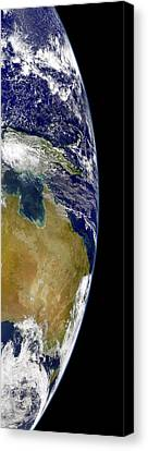 A Partial View Of Earth Showing Canvas Print by Stocktrek Images