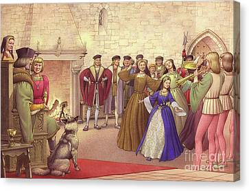 A Party Followed The Arrival Of Catherine Of Aragon In England To Be Married  Canvas Print by Pat Nicolle