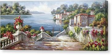 A Passeggiata Al Lago Di Como Canvas Print by Lucio Campana