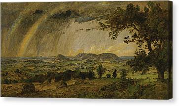 A Passing Shower Over Mts Adam And Eve Canvas Print by Jasper Francis Cropsey