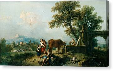 A Pastoral Scene With Cowherds Canvas Print