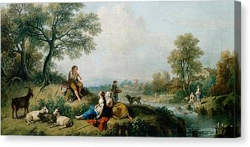 A Pastoral Scene With Goatherds Canvas Print by Francesco Zuccarelli