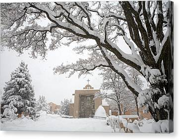A Peaceful Winter Scene Canvas Print by Ralph Lee Hopkins