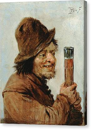 Real Experiences Canvas Print - A Peasant Holding A Glass by Teniers David The Younger