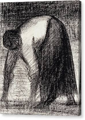A Peasant Woman With Hands In The Ground Canvas Print by Georges Pierre Seurat