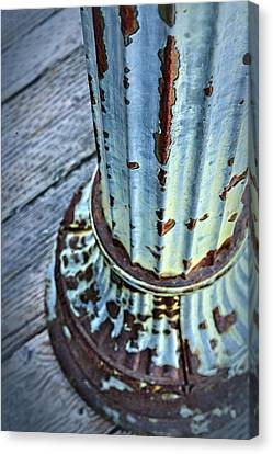 A Peeling Post In Blue Canvas Print