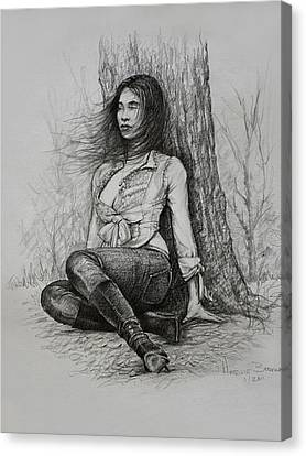Sexy Brunette Women Canvas Print - A Pensive Mood by Harvie Brown