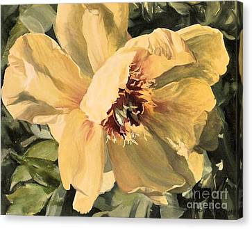 Canvas Print featuring the painting A Peony For Miggie by Laurie Rohner