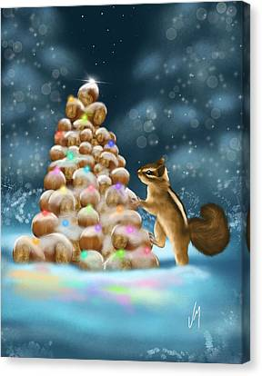 Canvas Print featuring the painting A Perfect Christmas Tree by Veronica Minozzi