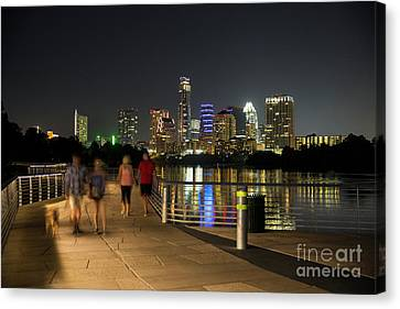 A Perfect Night For A Stroll And Take The Dog For A Walk On The Board Walk Trail Bridge On Lady Bird Lake With Austin Skyline Backdrop Canvas Print