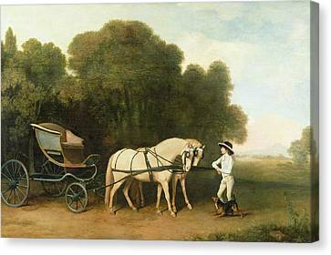 With Canvas Print - A Phaeton With A Pair Of Cream Ponies In The Charge Of A Stable-lad by George Stubbs