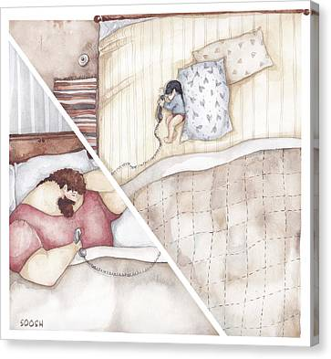 Illustrations Canvas Print - A Phone Call by Soosh