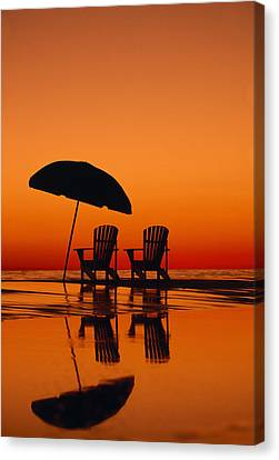 A Picturesque Scene With Two Chairs Canvas Print