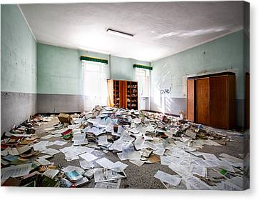 A Pile Of Knowledge - Abandoned School Building Canvas Print by Dirk Ercken