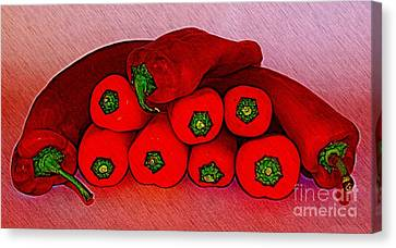 A Pile Of Peppers Canvas Print by Clare Bevan