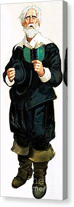 A Pilgrim Father Giving Thanks Canvas Print by Angus McBride