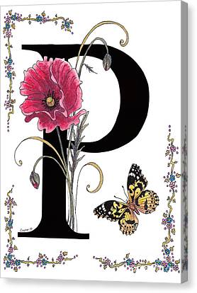A Pink Poppy And A Painted Lady Butterfly Canvas Print