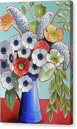 Anenome Canvas Print - A Pitcher Of Anemones by Ande Hall