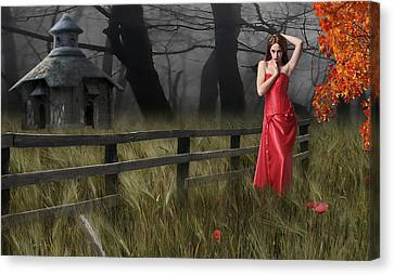 Red Dress Canvas Print - A Place To Remember by Marvin Blaine