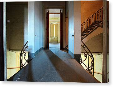 Canvas Print featuring the photograph A Play Of Light On Ythe Stairway by Dirk Ercken