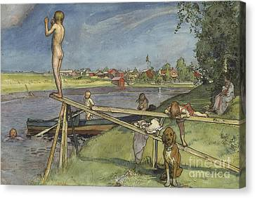 A Pleasant Bathing Place Canvas Print by Carl Larsson