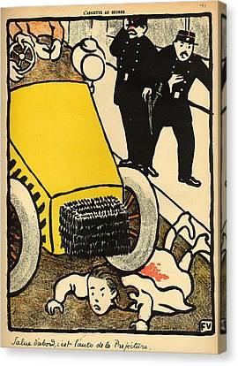 A Police Car Runs Over A Little Girl Canvas Print by Felix Edouard Vallotton