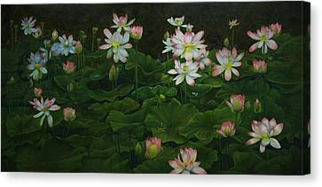 A Pond Full Of Water Lilies And Youtube Video Canvas Print by Roena King