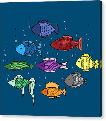 A Pool Of Colorful Fish  Canvas Print by Brenda Knight