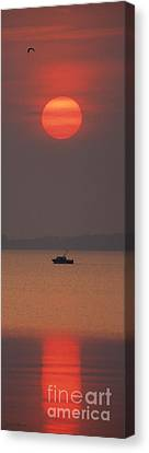 A Power Boat On Its Way To The Fishing Grounds Canvas Print by John Harmon