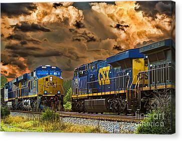 Csx Train Canvas Print - A Power Meeting by Tim Wilson