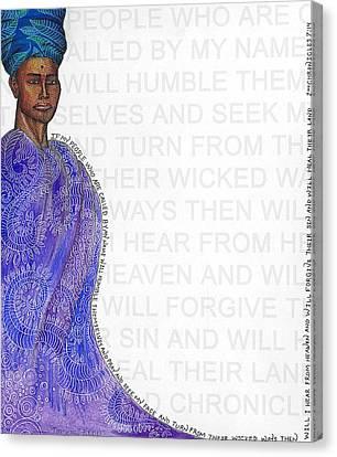 Haiti Canvas Print - A Prayer For Haiti Blue by James Redd