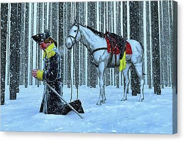 A Prayer In The Snow Canvas Print by Dave Luebbert